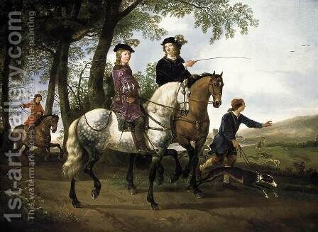 Landscape with a Hunt, 1650-55 by Aelbert Cuyp - Reproduction Oil Painting