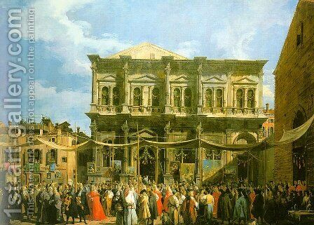 Venice- The Feast Day of St. Roch (The Doge Visiting the Church and the Scuola di San Rocco) 1735 by (Giovanni Antonio Canal) Canaletto - Reproduction Oil Painting
