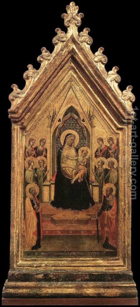 Madonna and Child Enthroned with Angels and Saints 1334 by Bernardo Daddi - Reproduction Oil Painting