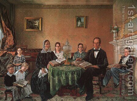 Reverend John Atwood and his Family 1845 by Henry F. Darby - Reproduction Oil Painting