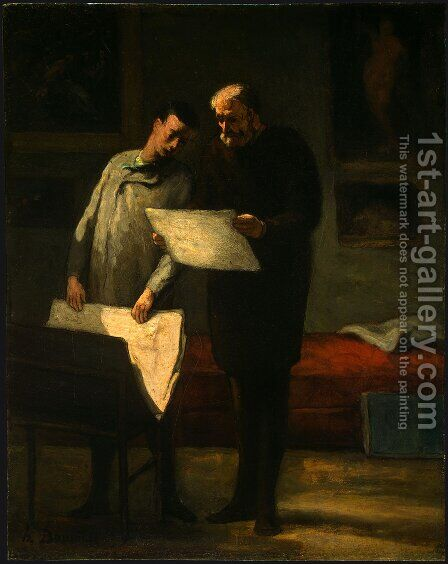 Advice to a Young Artist 1860 by Honoré Daumier - Reproduction Oil Painting