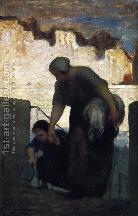Laundress on the Quai d'Anjou c. 1860 by Honoré Daumier - Reproduction Oil Painting