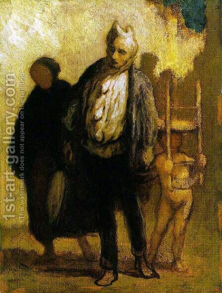 Wandering Saltimbanques 1847-50 by Honoré Daumier - Reproduction Oil Painting