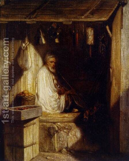 Turkish Merchant Smoking in His Shop 1844 by Alexandre Gabriel Decamps - Reproduction Oil Painting