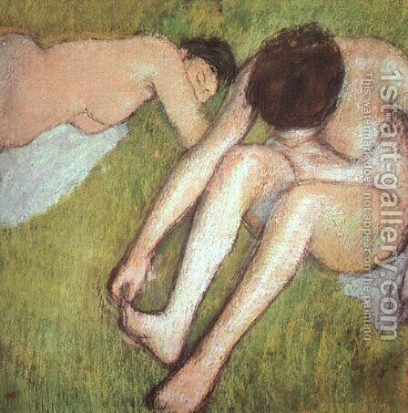 Bathers on the grass 1886-90 by Edgar Degas - Reproduction Oil Painting