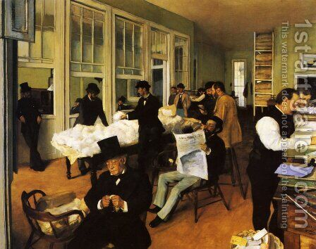 Portrait in a New Orleans Cotton Office 1873 by Edgar Degas - Reproduction Oil Painting