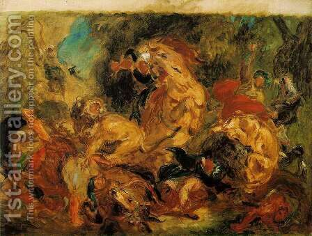 Lion Hunt 1854 by Eugene Delacroix - Reproduction Oil Painting