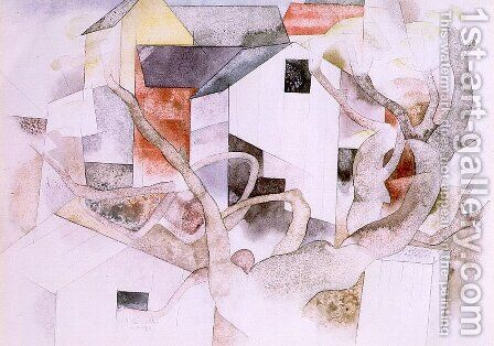 Trees and Barns: Bermuda 1917 by Charles Demuth - Reproduction Oil Painting