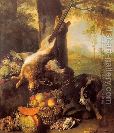 Still-Life with Dead Hare and Fruit 1711 by Alexandre-Francois Desportes - Reproduction Oil Painting