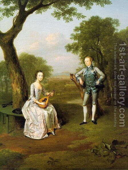 Sir Nathaniel and Lady Caroline Curzon 1754 by Arthur Devis - Reproduction Oil Painting