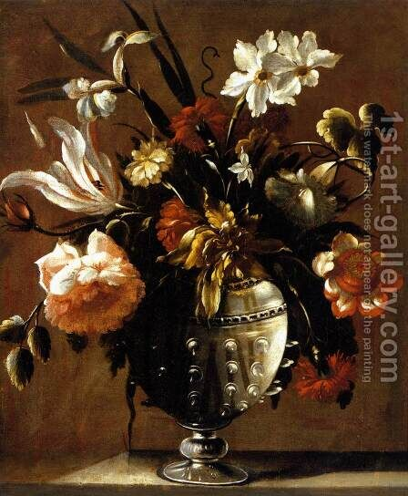 Vase of Flowers c. 1650 by Diego Valentin Diaz - Reproduction Oil Painting