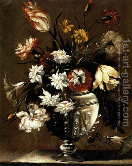 Vase of Flowers (2) c.1650 by Diego Valentin Diaz - Reproduction Oil Painting