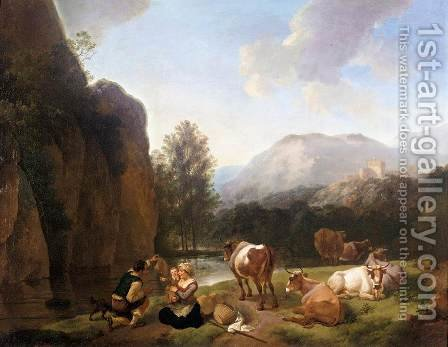 Italianate Landscape by Christian Wilhelm Ernst Dietrich - Reproduction Oil Painting