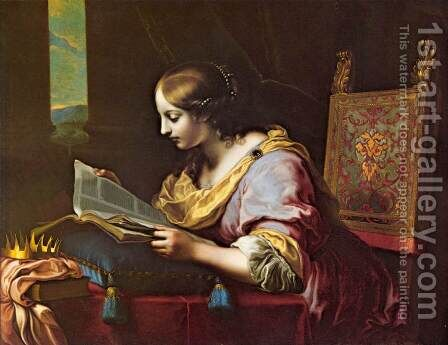 St Catherine Reading a Book by Carlo Dolci - Reproduction Oil Painting
