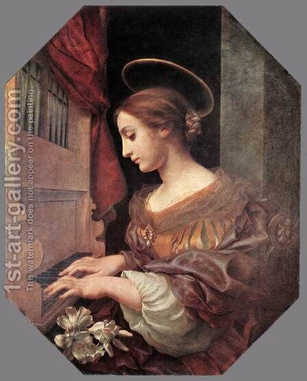 St Cecilia at the Organ 1671 by Carlo Dolci - Reproduction Oil Painting