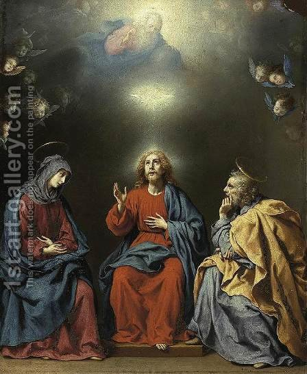 The Holy Family with God the Father and the Holy Spirit c. 1630 by Carlo Dolci - Reproduction Oil Painting