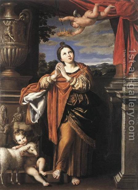 Saint Agnes c. 1620 by Domenichino (Domenico Zampieri) - Reproduction Oil Painting
