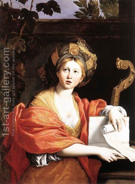A Sibyl 1616-17 by Domenichino (Domenico Zampieri) - Reproduction Oil Painting