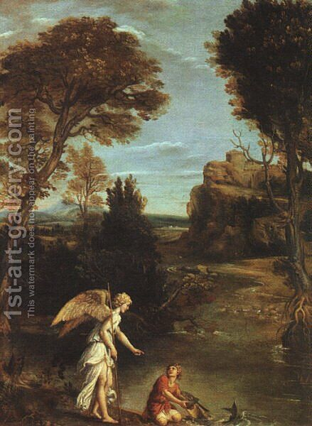 Landscape with Tobias Laying Hold of the Fish 1617-18 by Domenichino (Domenico Zampieri) - Reproduction Oil Painting