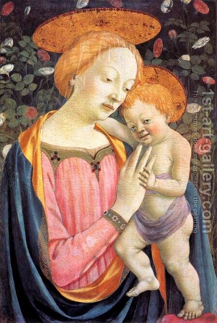 Madonna and Child after 1447 by Domenico Veneziano - Reproduction Oil Painting