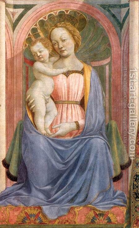 The Madonna and Child with Saints (detail 2) c. 1445 by Domenico Veneziano - Reproduction Oil Painting