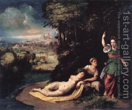 Diana and Calisto c. 1528 by Dosso Dossi (Giovanni di Niccolo Luteri) - Reproduction Oil Painting