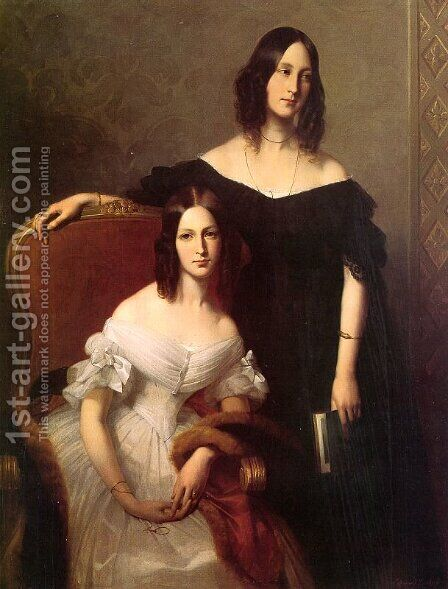 Portrait of Two Sisters 1840 by Edouard Louis Dubufe - Reproduction Oil Painting