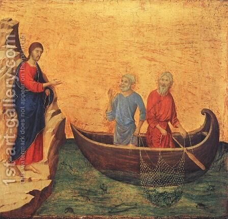 Calling of Peter and Andrew 1308-11 by Duccio Di Buoninsegna - Reproduction Oil Painting