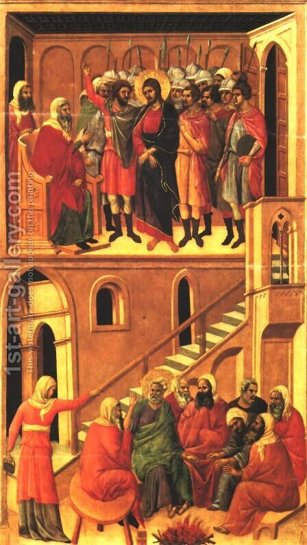 Christ before Annas and Peter Denying Jesus 1308-11 by Duccio Di Buoninsegna - Reproduction Oil Painting