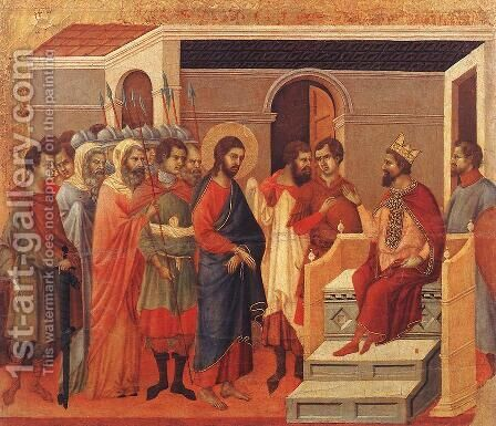 Christ Before Herod 1308-11 by Duccio Di Buoninsegna - Reproduction Oil Painting