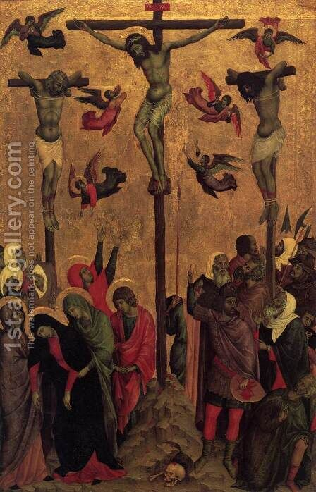Crucifixion 1310s by Duccio Di Buoninsegna - Reproduction Oil Painting