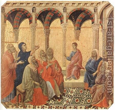 Disputation with the Doctors 1308-11 by Duccio Di Buoninsegna - Reproduction Oil Painting