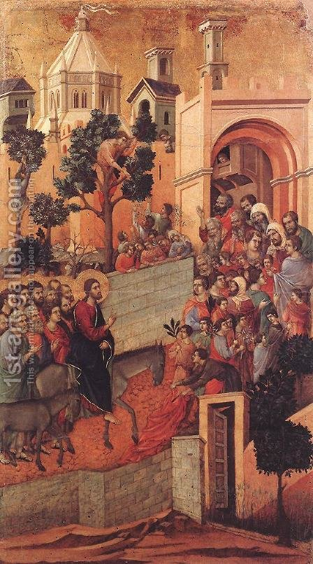 Entry into Jerusalem 1308-11 by Duccio Di Buoninsegna - Reproduction Oil Painting
