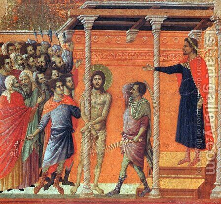 Flagellation 1308-11 by Duccio Di Buoninsegna - Reproduction Oil Painting