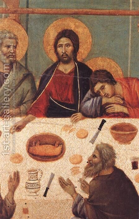 Last Supper (detail) 1308-11 by Duccio Di Buoninsegna - Reproduction Oil Painting