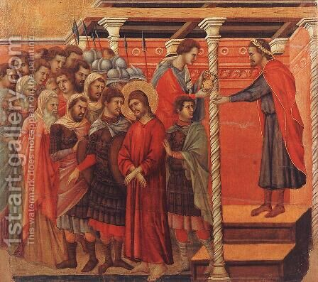Pilate Washing his Hands 1308-11 by Duccio Di Buoninsegna - Reproduction Oil Painting