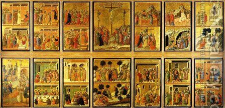 Stories of the Passion (Maesta, verso) 1308-11 by Duccio Di Buoninsegna - Reproduction Oil Painting
