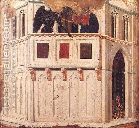 Temptation on the Temple 1308-11 by Duccio Di Buoninsegna - Reproduction Oil Painting
