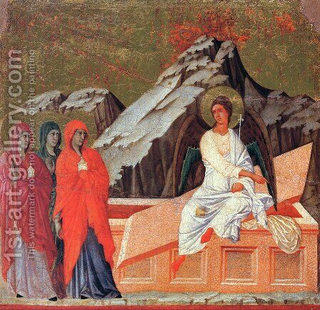 The Three Marys at the Tomb 1308-11 by Duccio Di Buoninsegna - Reproduction Oil Painting