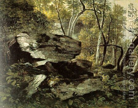 Study from Nature: Rocks and Trees 1856 by Asher Brown Durand - Reproduction Oil Painting