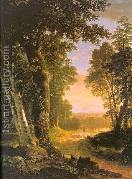 The Beeches 1845 by Asher Brown Durand - Reproduction Oil Painting