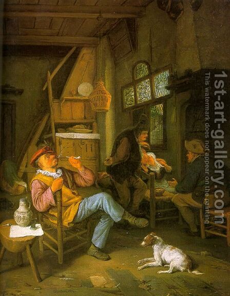 Pipe Smoker 1684 by Cornelis Dusart - Reproduction Oil Painting
