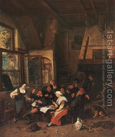 Tavern Scene by Cornelis Dusart - Reproduction Oil Painting