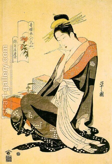 "Echizenya Morokoshi, from the series ""Six Beauties from the Pleasure Quarter""  1794-95 by Chobunsai Eishi - Reproduction Oil Painting"
