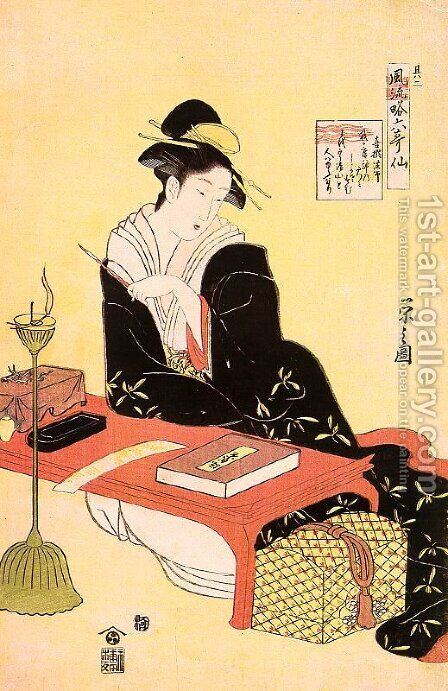 "Kisen Hoshi, from the series ""Six Immortal Poets""  1793-94 by Chobunsai Eishi - Reproduction Oil Painting"