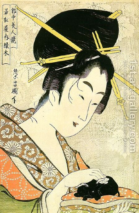 "Midoriki from the Wakamatsuya Establishment, from the series ""Contest of Beauties in the Pleasure District""  1795-96 by Chokosai Eisho - Reproduction Oil Painting"