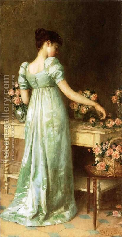Arranging Roses 1892 by De Scott Evans - Reproduction Oil Painting