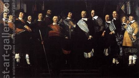 Officers and Standard-Bearers of the Old Civic Guard 1657 by Caesar Van Everdingen - Reproduction Oil Painting