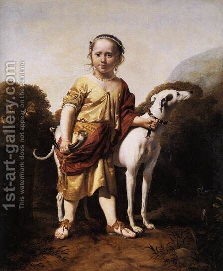 Portrait of a Girl as a Huntress c. 1665 by Caesar Van Everdingen - Reproduction Oil Painting
