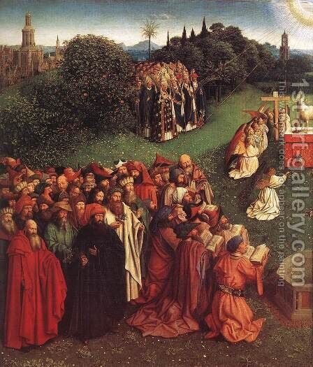 The Ghent Altarpiece- Adoration of the Lamb (detail 2) 1425-29 by Jan Van Eyck - Reproduction Oil Painting
